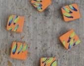 Reclaimed wood magnets  Set of 6 - Hand Painted orange abstract