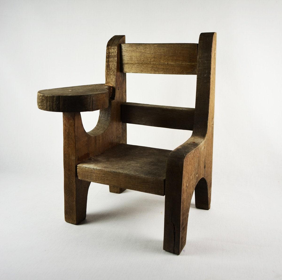 Vintage Small Primitive Wood School Desk Rustic Chair