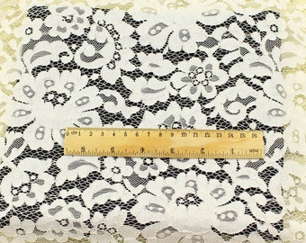 ivory lace fabric, embroidered lace fabric, retro floral lace fabric, one yard