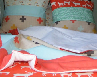 Premium Woodland Deer Arrow Cross  Toddler Bedding  - Sheet Blanket and Pillowcase -Coral and Mint