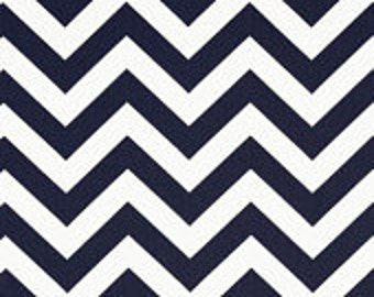 Baby Bedding Drapery Nursery Curtain Panels  Fully Lined Navy with Navy Chevron Bottom Contrast
