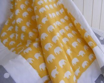Baby Bedding Crib Stroller Blanket Quilt  cotton organic fleece Yellow Grey Elephants