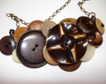 Button Necklace - Vintage Buttons - Brown - Cream Tan - Brown necklace - Vintage buttons and more- BUFFED CELLULOID Button