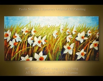 Oil Painting Daffodil Garden 40 inch Original Impressionist Palette Knife White Flowers Summer Painting Paula Nizamas White Flowers Summer