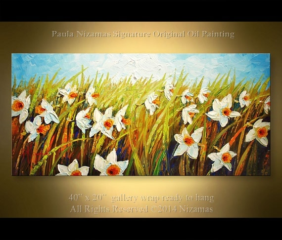 "Daffodil Garden Original Impressionist Palette Knife Floral  Painting from Paula Ready to ship Ready to Hang 40"" x 20"""
