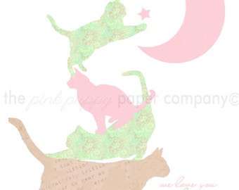 8x10 Print for Child's Room or Nursery: Kitty cats to the Moon and Back (Choose Your Colors)