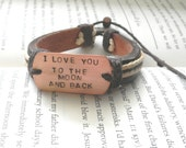 Mens Leather and Copper Bracelet