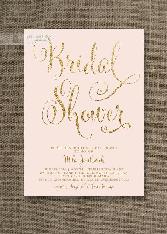 Blush Pink & Gold Bridal Shower Invitation Glitter Pastel Wedding Hens ...