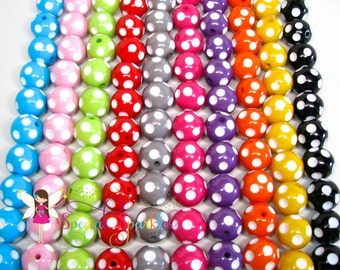 Chunky Beads, Polka Dot Beads, Bubblegum Beads, Eighty (80) 20mm Beads, Bulk Discount, Minnie Beads, You Pick Colors