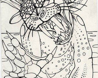 bunyip, straya, cryptid, cryptozoology,  horror art, coloring book page