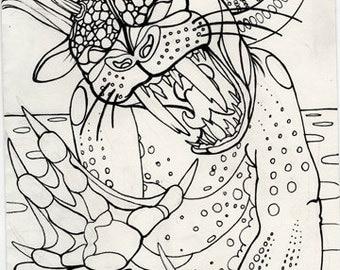 bunyip, straya, cryptid, cryptozoology,  horror art, coloring book page