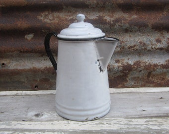 Vintage Graniteware Coffee Pot or Tea Pot 1940s 1950s Era Classic Black White Colors Camp Camping Pot Retro Kitchen Primitive Rustic Display