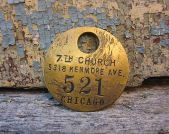 Vintage Brass Tag 7th Church Chicago vtg Number Tag Jewelry Charm Brass Number 521 Industrial Tag Old VTG Tag Farm Industrial Tag Lucky Fob