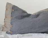 Grey Linen Pillow case With Wooden Buttons. washed