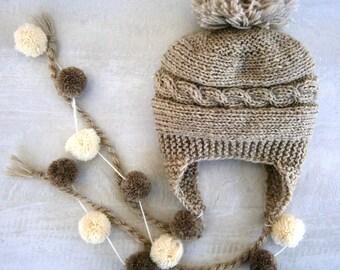 Baby Pom Pom Hat, Knit Baby Boy Hat, Baby Boy Ear Flap Hat