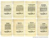 Vintage Printable Ephemera Vegetable Seed Packet Backs Digital Download JPG