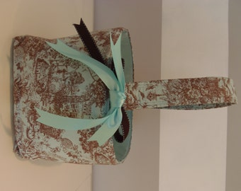 Personalized Fabric Easter Basket Candy Bucket Bin Storage Container- Light Blue Toile