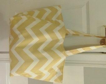Large Handmade Beach Bag/ Tote Bag or Diaper Bag inYellow Chevron with Lt. Blue