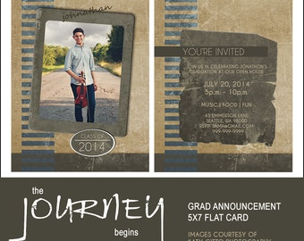 Graduation Announcement 5x7 Card for guys,  The Journey, Photoshop Template, INSTANT DOWNLOAD