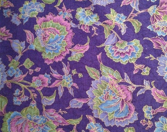 Cotton Fabric by Hoffman - Purple Floral - x one metre
