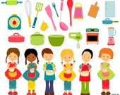 Cooking Clipart, Cooking children, Children Clipart, Kitchen clipart, Cooking school clipart, Instant download