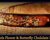 The Bestest little girl belt ever!, GIRLS FLOWERS & BUTTERFLIES dyed chocolate brown,What fun!...from Infant to Size 12, With buckle, Wow!