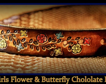 The Bestest Personalized little girl's leather belt ever! Infant to Size 12, FLOWERS & BUTTERFLIES chocolate brown What fun! With buckle Wow