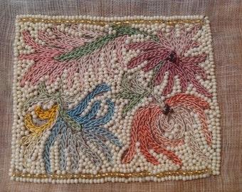 Rare Vintage French Embellishment Beadwork w Petit Point