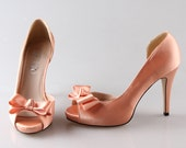 Peach nude D'orsay shoes peep toe wedding party prom shoes pumps with bow ,  other color is available too