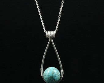 Sterling silver wiring turquoise teardrop pendant necklace Bridesmaid gifts Free US Shipping handmade Anni designs