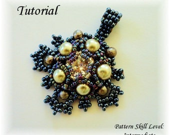 ISABELLA beaded pendant beading tutorial beadweaving pattern seed bead beadwork jewelry beadweaving tutorials beading pattern instructions