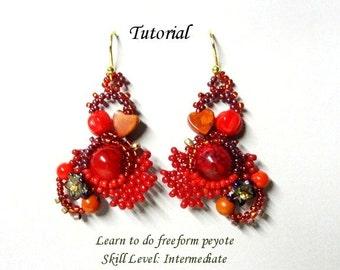 FIRE REEF freeform peyote beaded earrings beading tutorials and patterns seed bead jewelry beadweaving tutorial beading pattern instructions