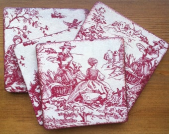 Decoupaged Coaster Set of Four for Him/for Her Spring Pastoral