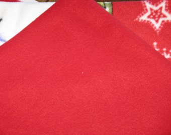 "Red Polar Fleece Warm Fabric   - 1 1/4 yards 60"" wide New"