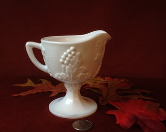 Vintage Milk Glass Footed Cream Pitcher Harvest Grape Pattern by Indiana Glass