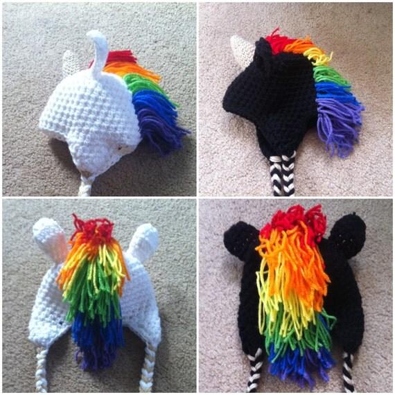 Crochet Rainbow Unicorn Beanie/Hat