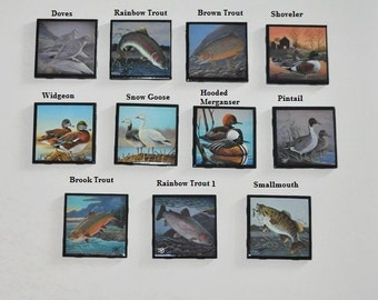 Black Ceramic Tile Coasters Handmade 4 x 4  Animals Ducks Fish doves Drinking Coasters