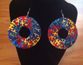 Autism awareness puzzle piece ribbon earrings
