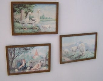 "Vintage 50's  ""COUNTRY SCENE MAGNETS"" Set of 3"