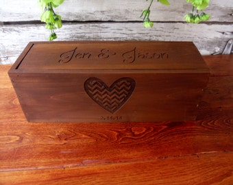 Wine Box, Chevron Heart, Wedding Wine Box, Wedding Gift, Gift for Newlyweds, Anniversary Gift, Valentine Gift