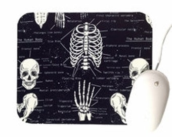 Skeleton Mouse Pad / Glow in the Dark / Black and White / Office Home Decor