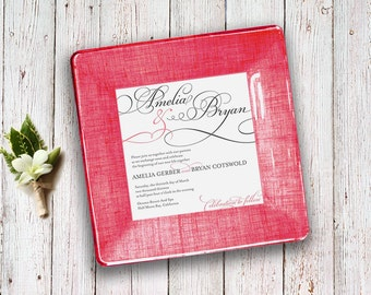 Wedding Invitation Keepsake - match your colors - Valentine's Day gift - 1st anniversary gift - Couples Gift - Keepsake - Decoupage Plate