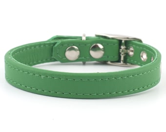 Soft Green Leather Dog Collar