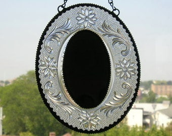 Stained Glass Mirror Vintage Plate Oval Mirror Indiana Glass Home and Living Home Decor Mirrors Handcrafted Made in USA