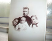 Vintage Photograph Cabinet Card Mother and Babies 1800s