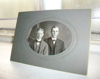 """1800s Photograph 2 Edwardian Brothers 6"""" x 4 1/4"""""""