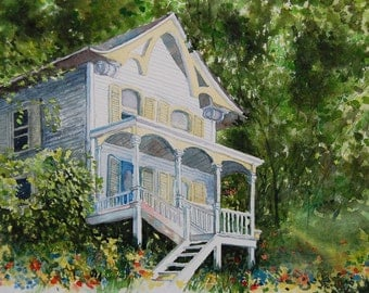 watercolor ORIGINAL Front Porch house summer flower tree