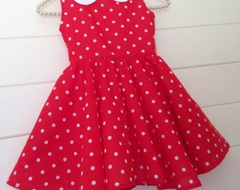 Minnie Mouse Inspired Rosiegirl Red Polka Circle Dress