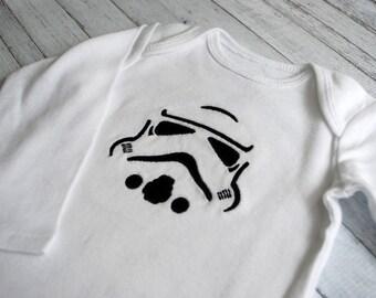 Storm Trooper Star Wars embroidered baby bodysuit