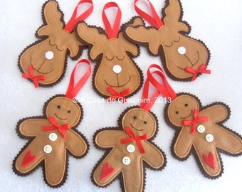 Set of 6 Christmas ornaments: 3 Gingerbread Men and 3 Reindeers